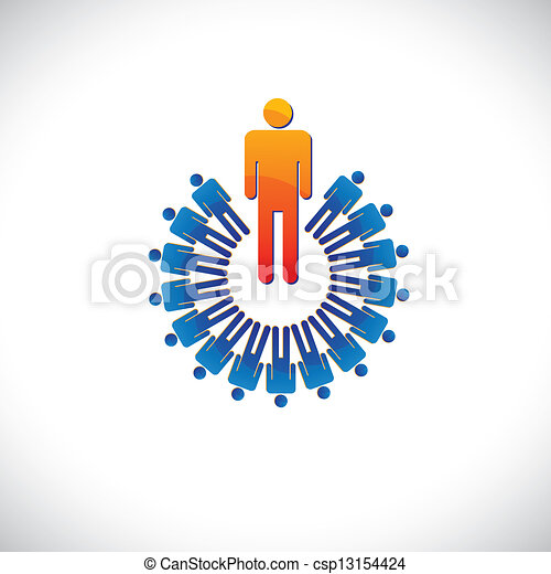 Colorful abstract illustration leader and followers. The graphic also represents concepts like employer and employee, manager and worker, etc - csp13154424