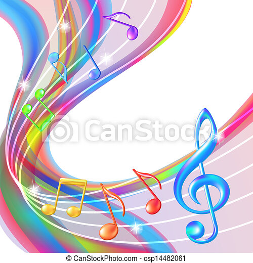 Colorful abstract notes music background. - csp14482061