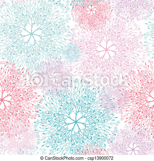 Colorful abstract tree vignettes seamless pattern background - csp13900072