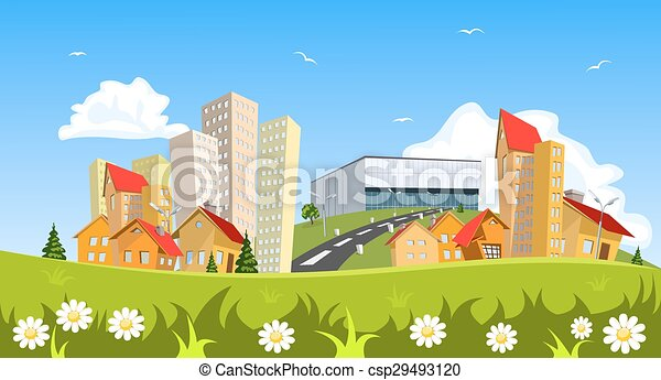 Colorful abstract vector city - csp29493120