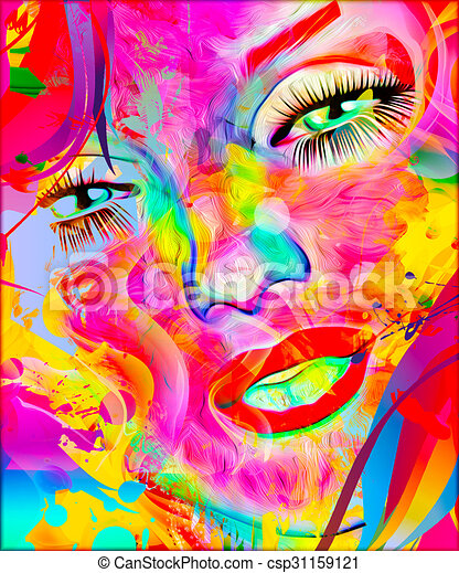 Colorful abstract, Womans face. - csp31159121