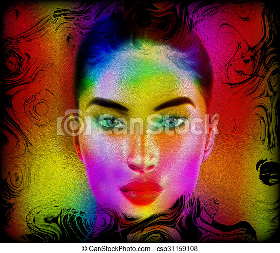 Colorful abstract woman's face. - csp31159108