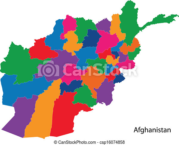 Colorful afghanistan map map of administrative divisions of colorful afghanistan map csp16074858 gumiabroncs Gallery
