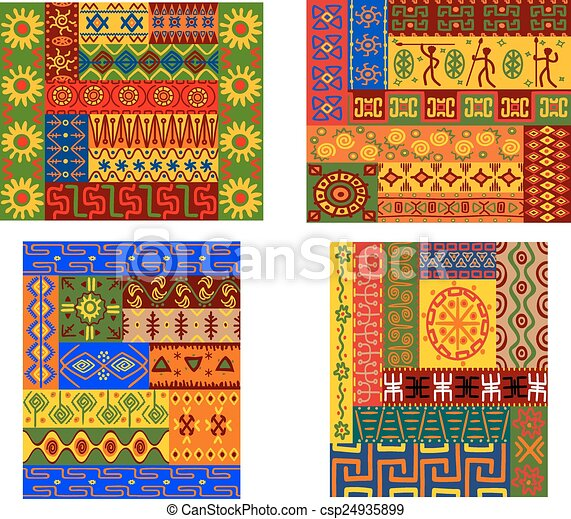 Colorful African Ethnic Patterns For Wallpaper Or Ethnicity Design