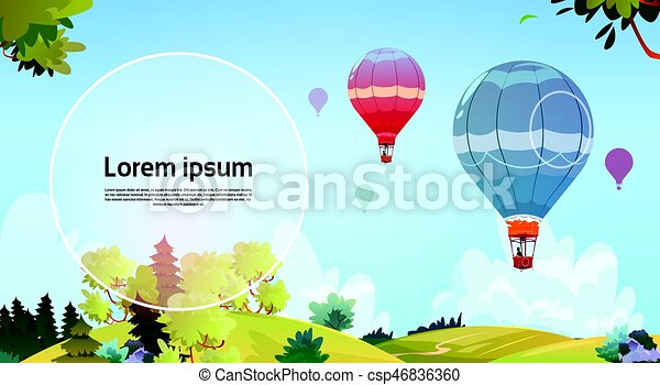 Colorful Air Balloons Flying In Sky Over Summer Landscape - csp46836360