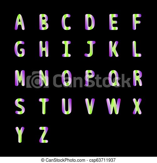 Colorful alphabet A to Z with trend colors