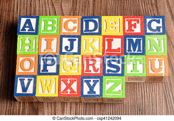 Colorful alphabet blocks A to Z - csp41242094