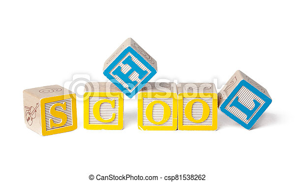 Colorful alphabet blocks. Back To School isolated on white - csp81538262