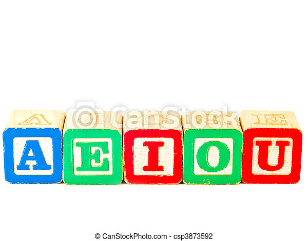 Colorful Alphabet Blocks With All of the Vowels - csp3873592