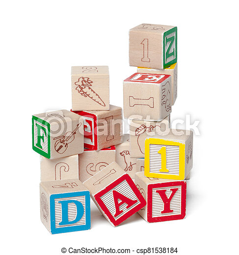 Colorful alphabet blocks. Word day isolated on white background - csp81538184