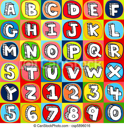 colorful alphabet letters and numbers csp5896016