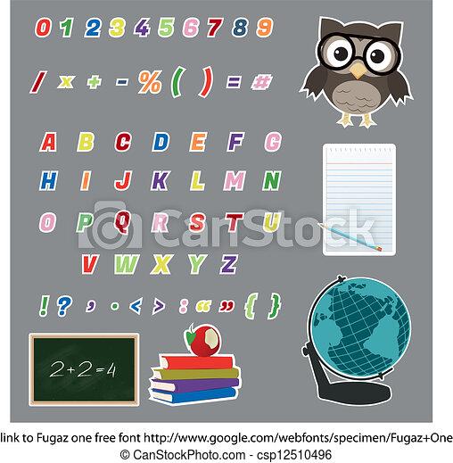 Colorful Alphabet Stickers - csp12510496