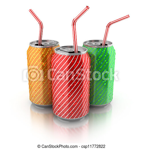 colorful aluminum cans with straws - csp11772822