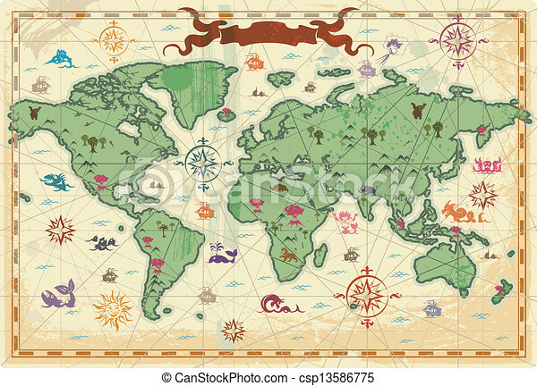 Colorful ancient world map retro styled map of the world with trees colorful ancient world map csp13586775 gumiabroncs Gallery
