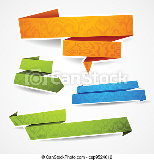 Colorful and decorated paper banners for your text - csp9524012