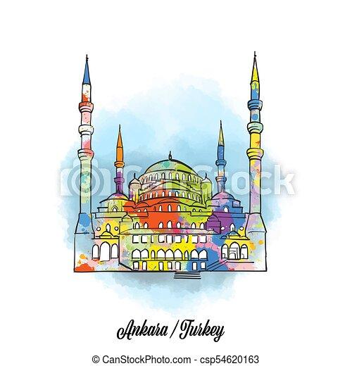 Colorful ankara mosque sign - csp54620163