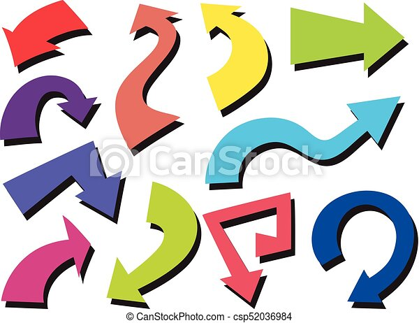 Colorful arrows on white background - csp52036984