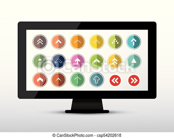 Colorful Arrows Set on Computer Screen. Arrow Icon on Device. Vector. - csp54202618