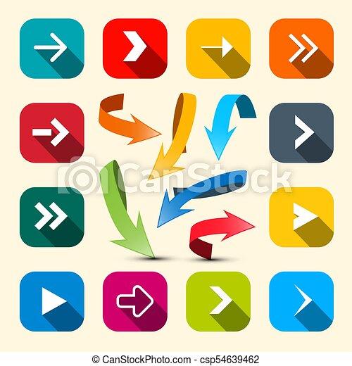 Colorful Arrows Set. Vector Arrow Icon. - csp54639462
