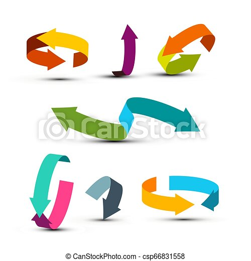 Colorful Arrows Set. Vector Double Arrow Icons. Graphic Arrow Concept for Applications and Web Design or Company Logo. - csp66831558