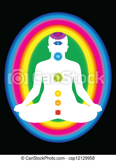 colorful aura with all chakras  - csp12129958