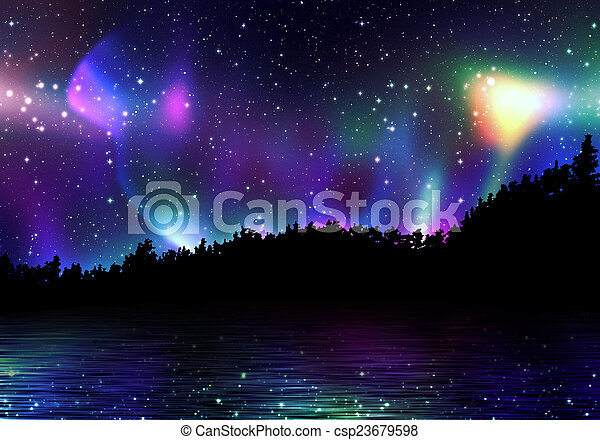 Colorful Aurora Borealis - csp23679598