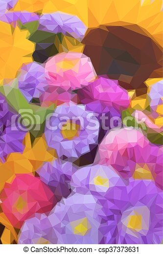 Colorful Autumn Flowers Background Low Poly Illustration Background