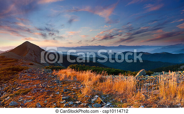 Colorful autumn landscape in the mountains. Sunrise - csp10114712