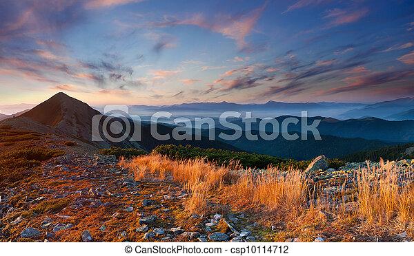 Colorful autumn landscape in the mountains. Sunrise - csp10114712