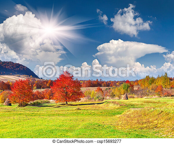 Colorful autumn landscape in the mountains - csp15693277