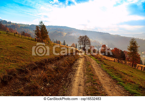 Colorful autumn landscape in the mountains - csp16532483