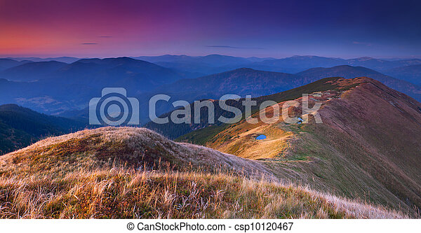 Colorful autumn landscape in the mountains. Sunrise - csp10120467