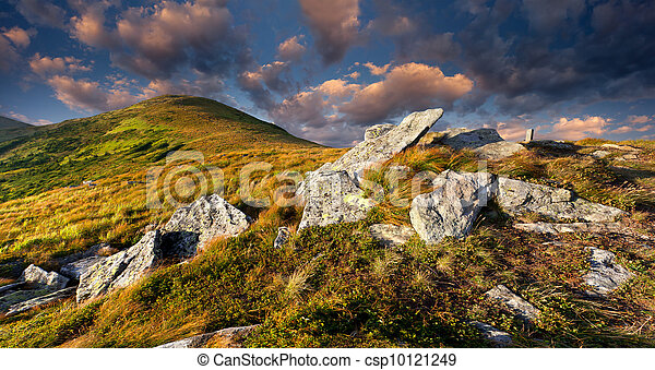 Colorful autumn landscape in the mountains. Sunrise - csp10121249