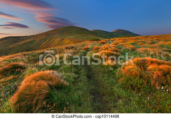Colorful autumn landscape in the mountains. Sunrise - csp10114498