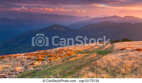 Colorful autumn landscape in the mountains. Sunrise - csp10175134