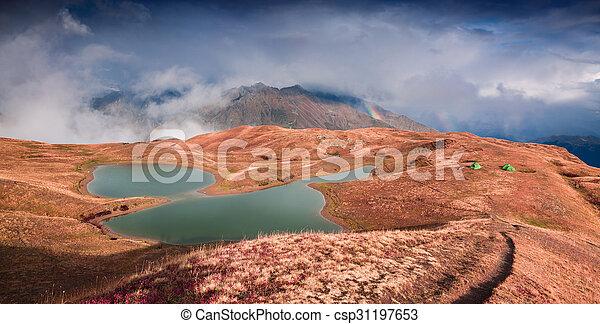 Colorful autumn morning on the lake Koruldi - csp31197653