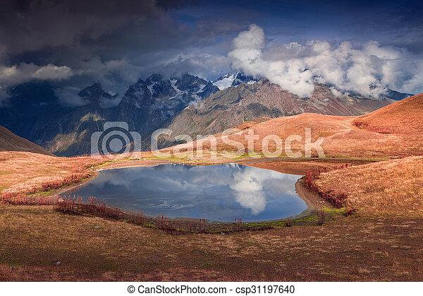 Colorful autumn morning on the lake Koruldi - csp31197640