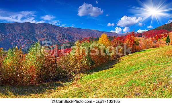 Colorful autumn panorama of the mountains - csp17102185