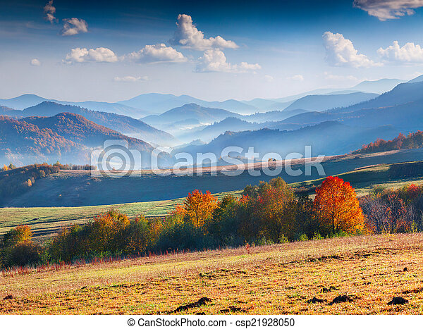 Colorful autumn panorama of the mountains. - csp21928050