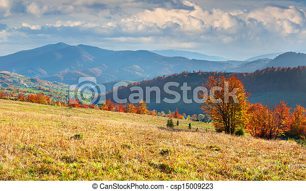 Colorful autumn panorama of the mountains - csp15009223