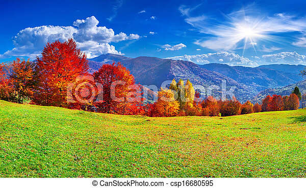 Colorful autumn panorama of the mountains - csp16680595
