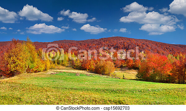 Colorful autumn panorama of the mountains - csp15692703