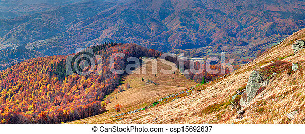 Colorful autumn panorama of the mountains - csp15692637