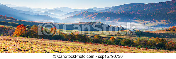 Colorful autumn panorama of the mountains. - csp15790736