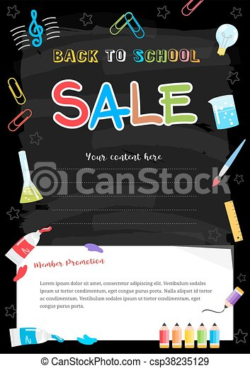 colorful back to school sale poster on chalkboard theme with painting elements csp38235129