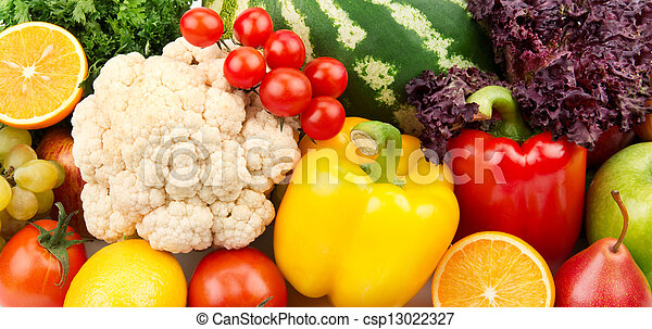 colorful background of fruits and vegetables - csp13022327