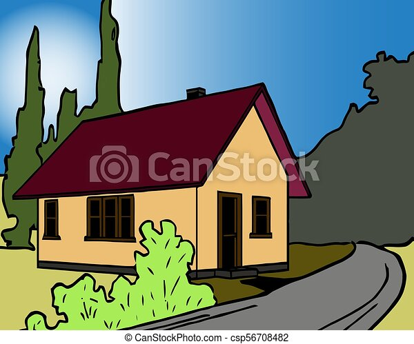 Colorful background of natural landscape with country house and mountains in sunset vector illustration - csp56708482