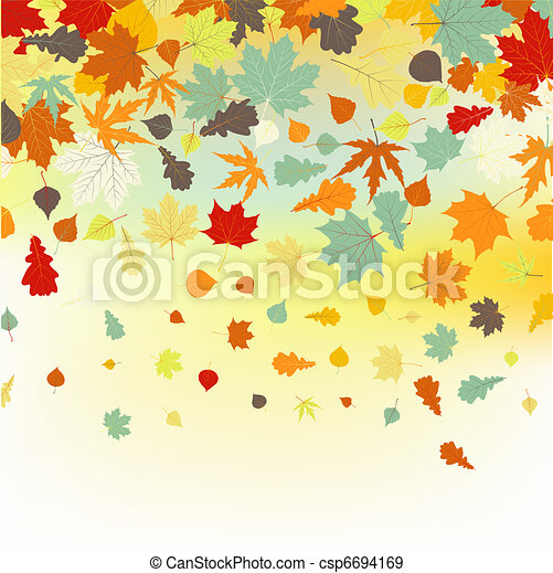 Colorful backround of fallen autumn leaves. EPS 8 - csp6694169