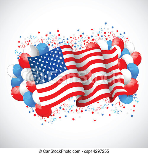 Colorful Balloon with American flag - csp14297255