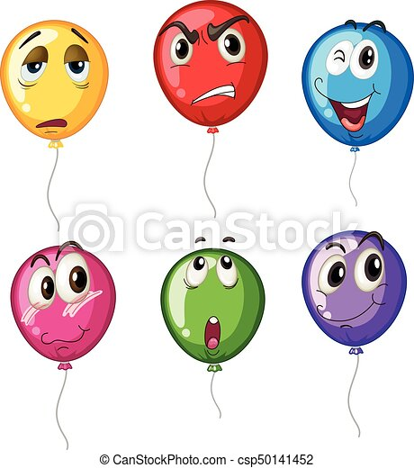 Colorful balloons with different faces - csp50141452